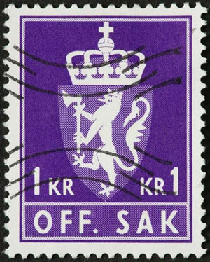 Purple coat of arms on a Norwegian postage stamp